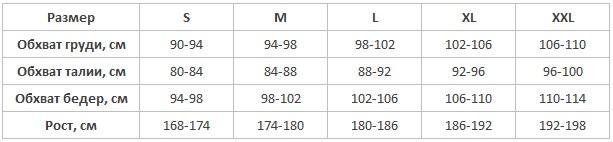 Пижама мужская Henderson таблица размеров
