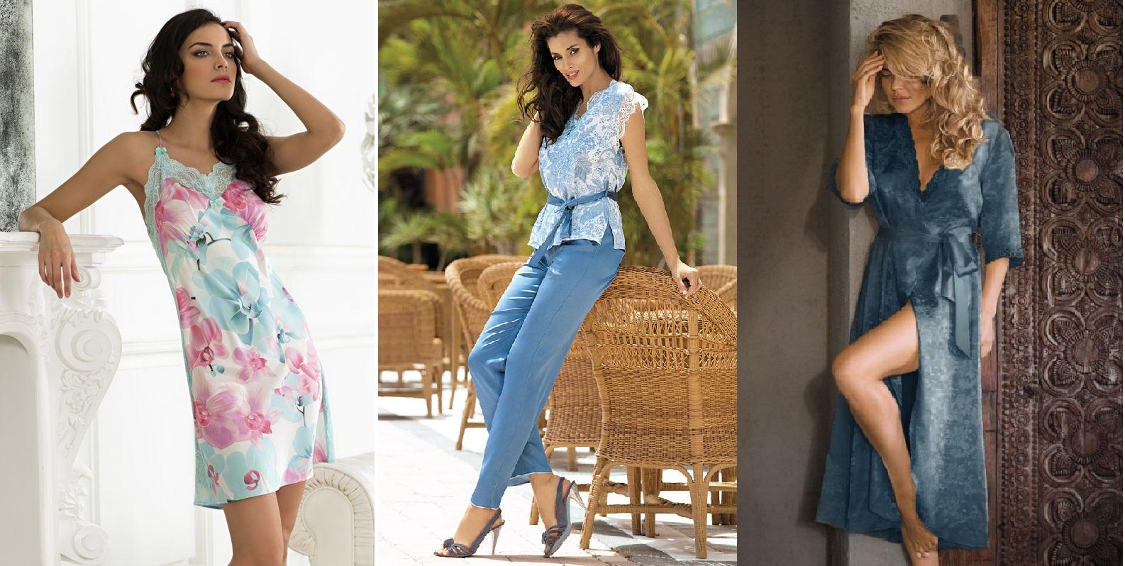 Женские сорочки пижамы комплекты шелк Mia-Mia купить интернет магазин Киев