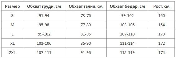 L&L халаты женские таблица размеров