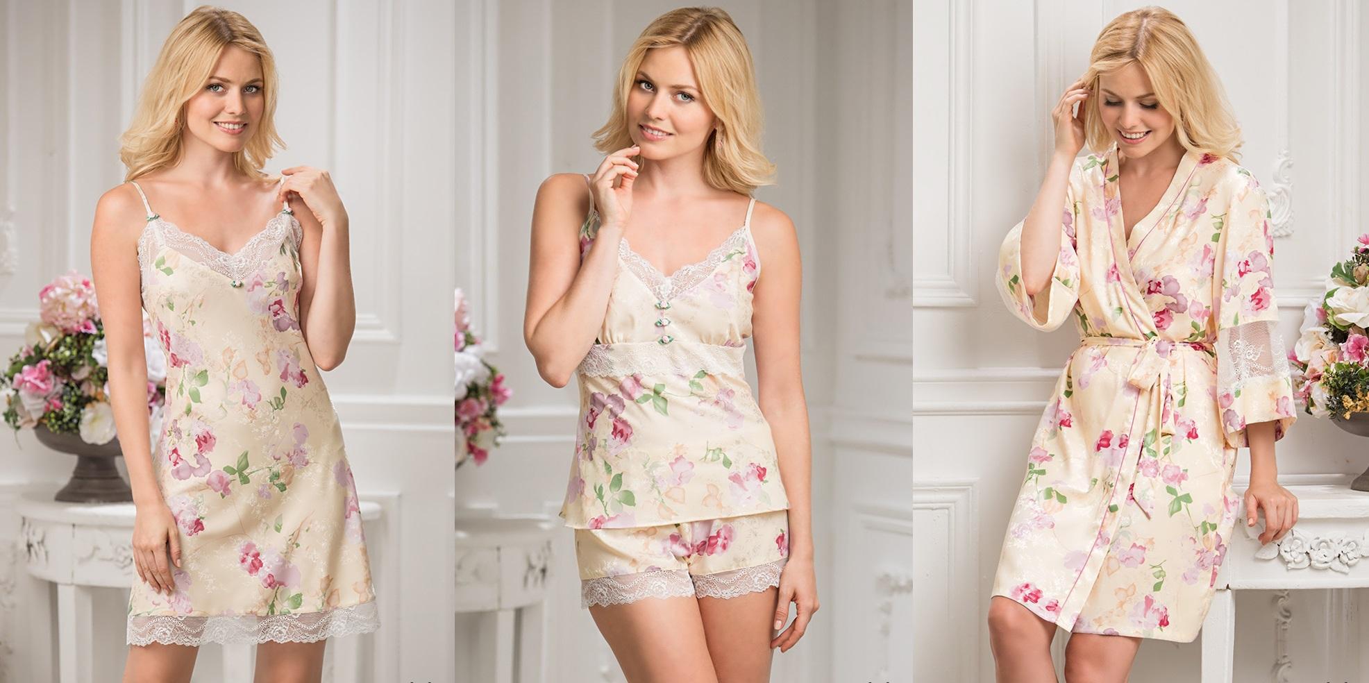 Ночные сорочки халаты шелк Fiorella MIA-MIA купить в интернет магазине Киев relish.com.ua