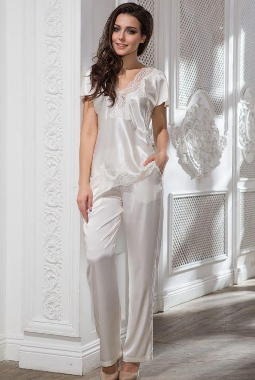 6404a498ed6a Шелковая пижама женская Mia-Mia Isabella 3186 молочный купить в ...
