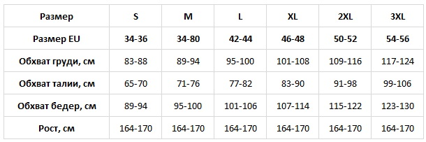 Babella таблица размеров
